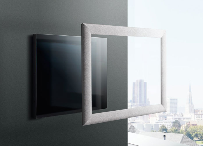 Tv frame products from neod including the swarovski tv for Meuble qui s accroche au mur